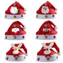719512a6ee415 Christmas Santa Hat Economical Felt Santa Claus′ Cap Xmas LED Hat for Kids  and Adults