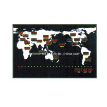 electric led digital wall mounted world map time zone clock