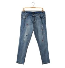 26abf4bb060 P1315 Ladies Plus Size Rhinestone Ripped Women Washed Capris Jeans