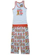 100% Cotton Girls Pajamas Sleeveless Top Aop Pants Children Wears Girls Wears Sleep Wears