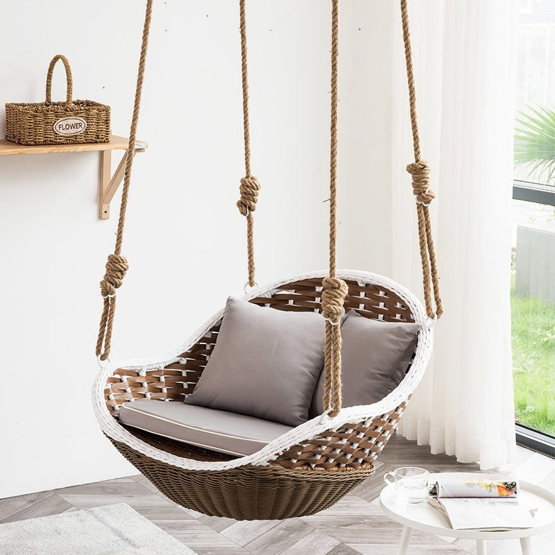 China Wicker Rattan Outdoor Patio Swing With Hanging Steel