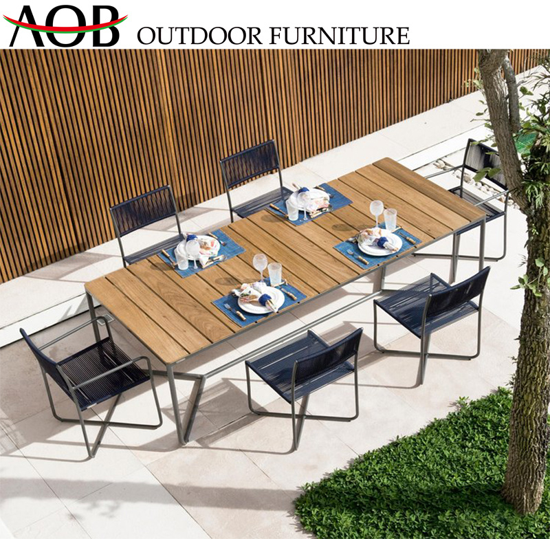 Customized Leisure Garden Furniture Sets Restaurant Rope Woven Dining Chair with Teak Table