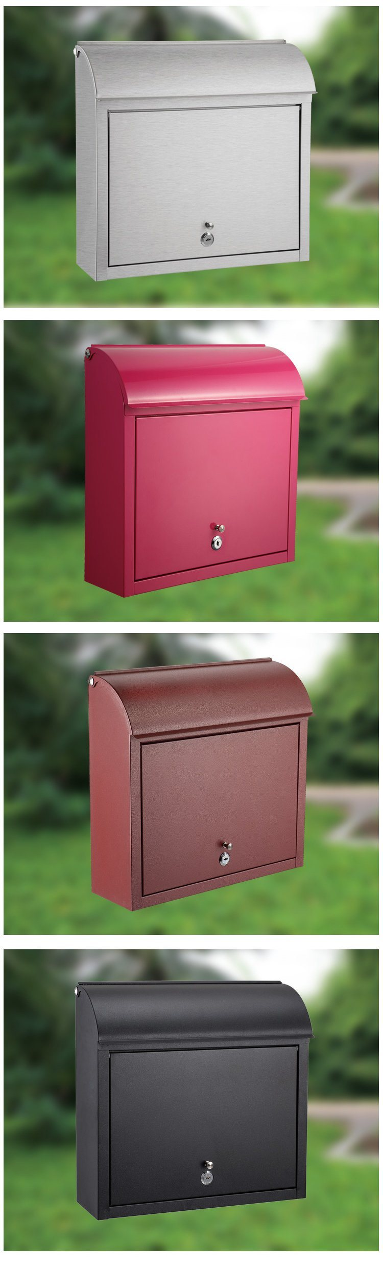 Stainless steel lockable mailbox postbox letterbox newspaper holder round square