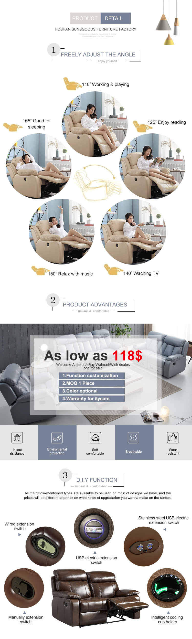 China Bespoke Double Chaise Lounge Sofa