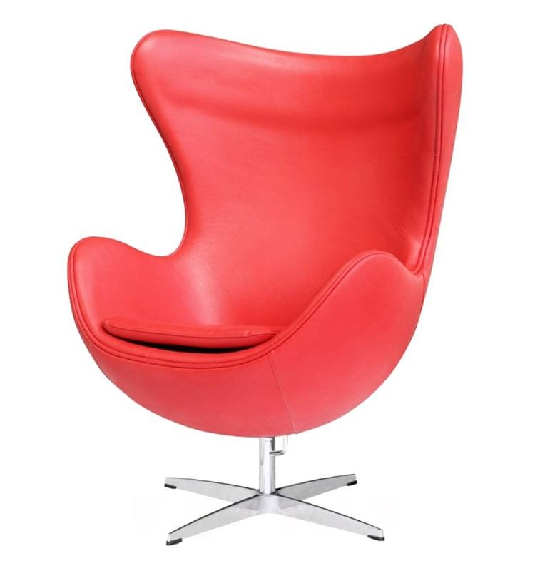 China Midcentury Red Leather Egg Chair