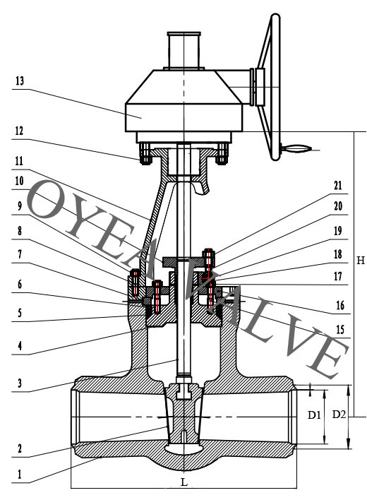 Power Station Pressure Seal Motorized Gear Gate Valve