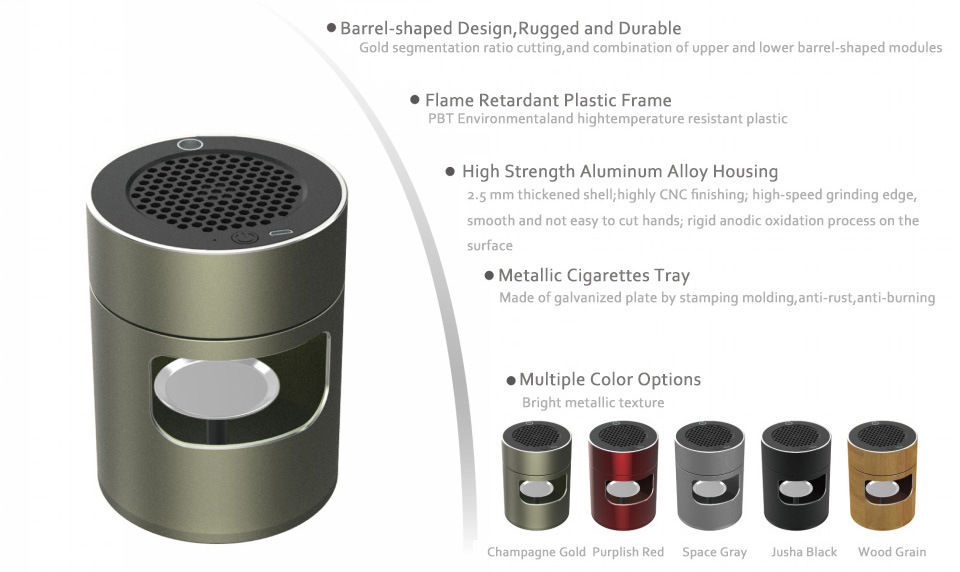Built-In Filter Reduces Second-Hand Smoke Smokeless Ashtray Draws In Smoke