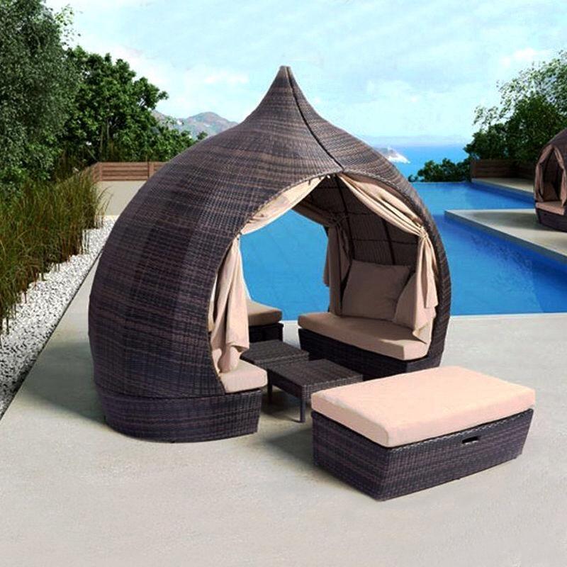 2-persoons ligstoel met gordijnen Patio chaise lounges Zonnebank Outdoor slaapbank Tuinmeubelen Weerbestendig en waterdicht PE Polyrotan verwijderbaar