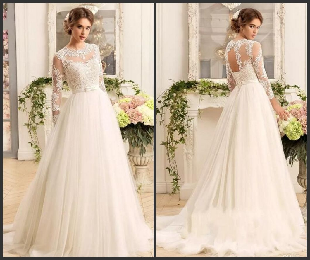 China Simple Lace Wedding Dress A-Line Beach Garden Tulle