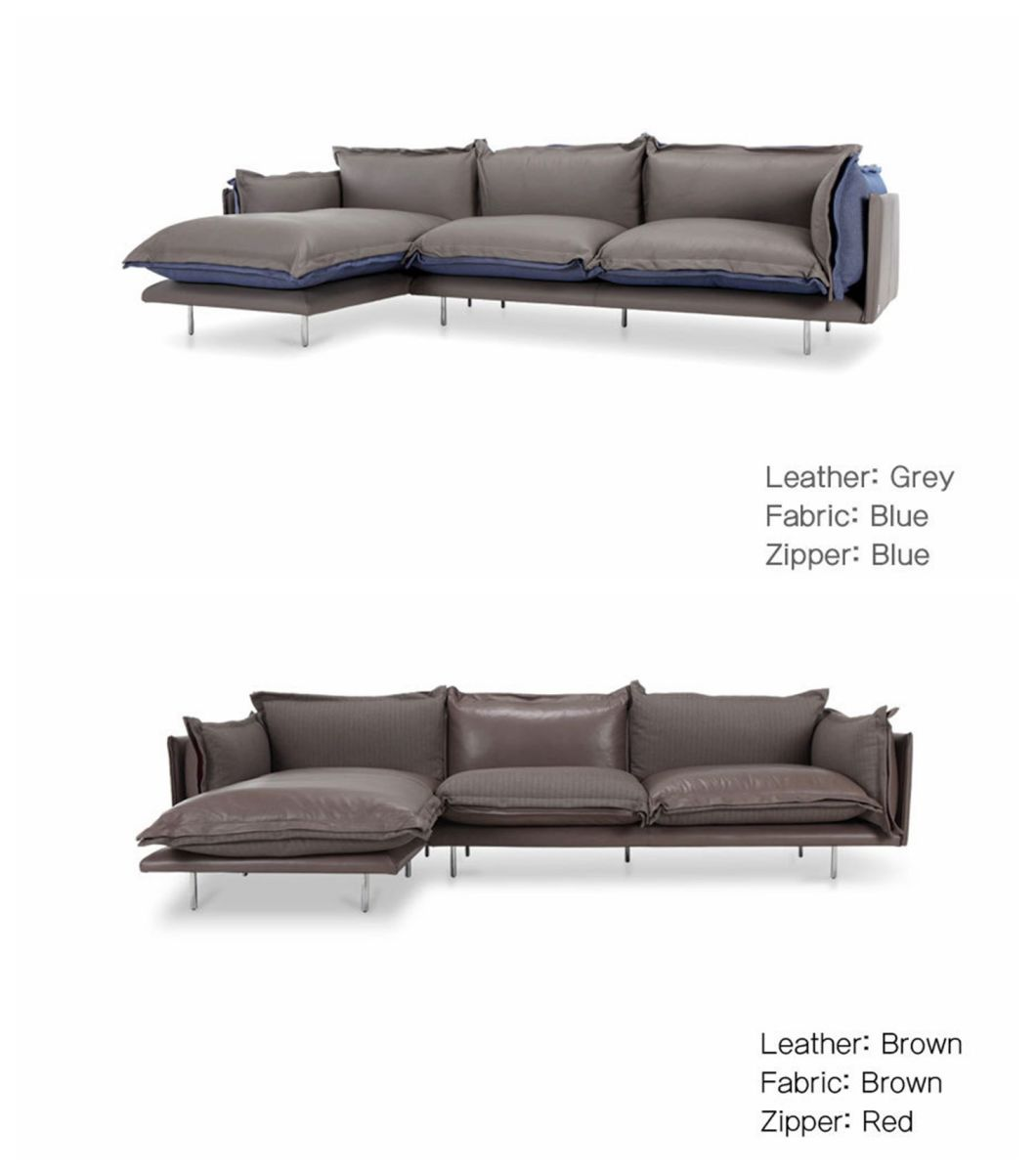 Modern Leather Fabric Sectional Sofa