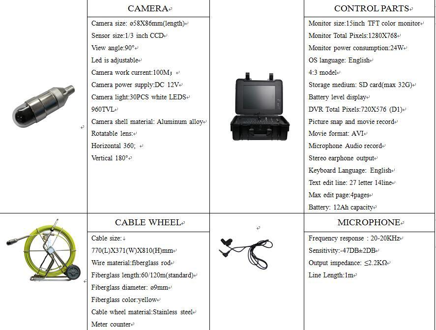 Pipeline Inspection Borescope Camera for Pipelines 200mm-800mm with Pan Tilt Camera, Underwater Camera