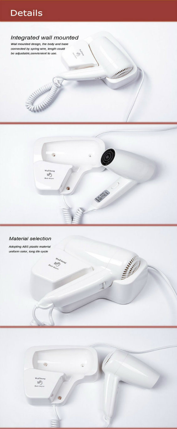Convenient Plastic Household Wall Mounted Hair Dryer for Sale