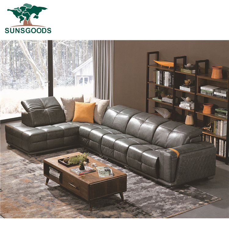 China Grey Genuine Leather Sofa L Shape