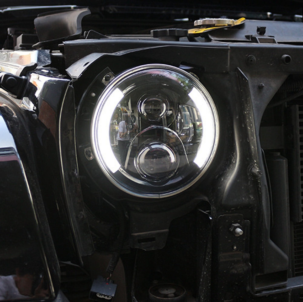 High /Low Beam 7 Inch 60W LED White Halo Ring LED Headlight Driving Light with DRL & Turn Signal