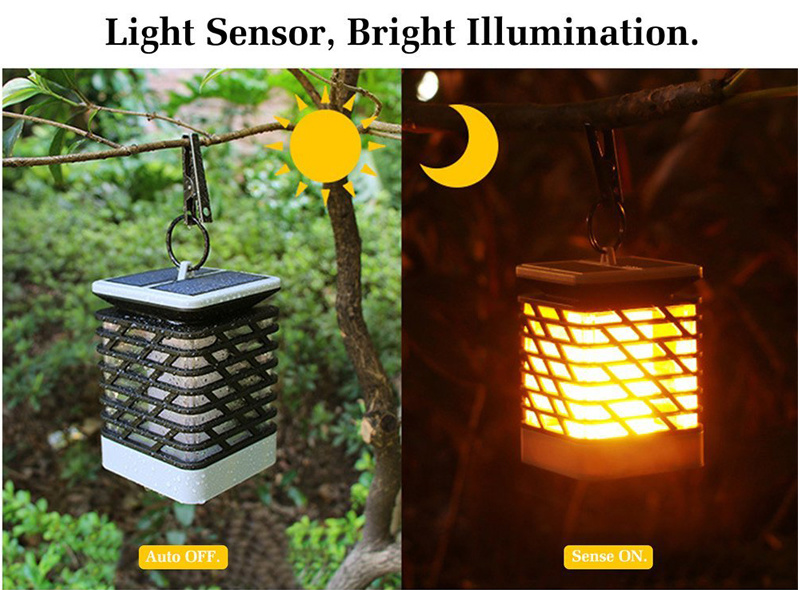 Solar Flame Flickering LED Lawn Lamp for Garden