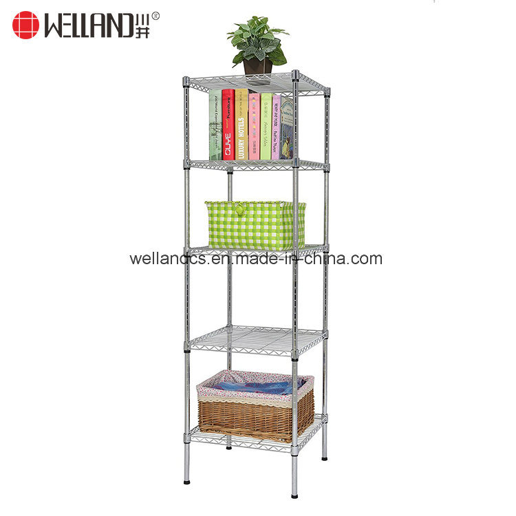 Square 5 Shelves Adjustable Corner Steel Wire Shelving Rack for Livingroom Storage Unit