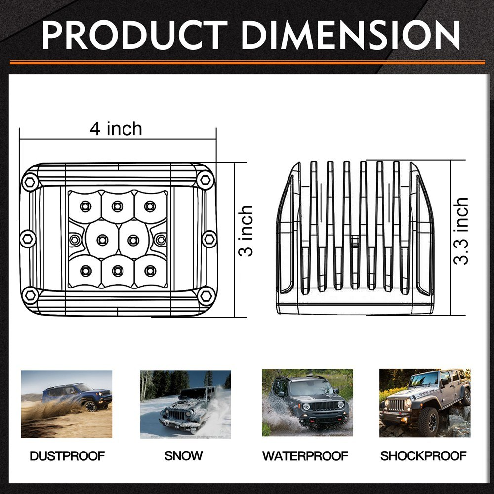 4 Inch Manufacturer Offroad Dual Side Shooter LED Work Light Bar for Jeep Truck ATV 4X4