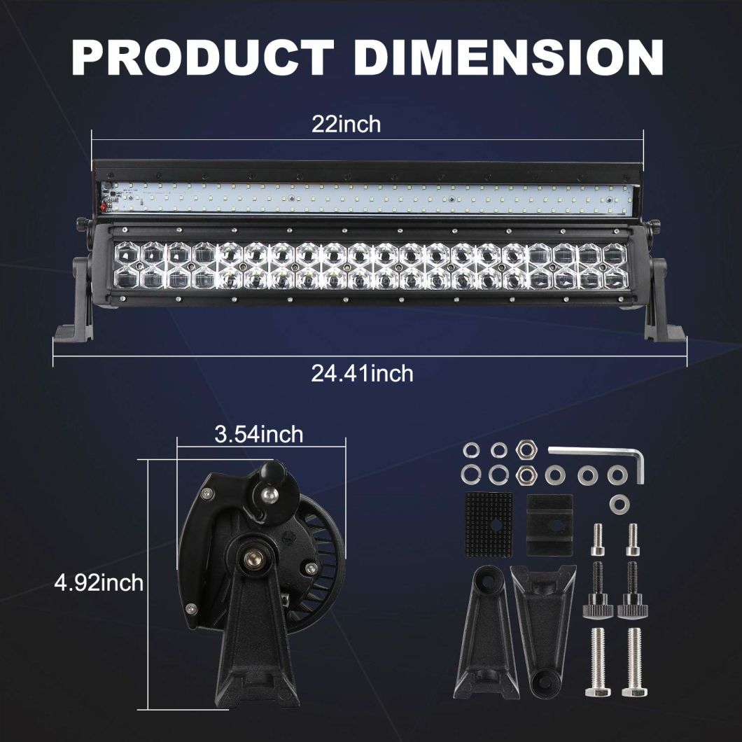 New 6D Lens 41.5'' Combo Beam LED Light Bar with Flip Cover for Truck Jeep