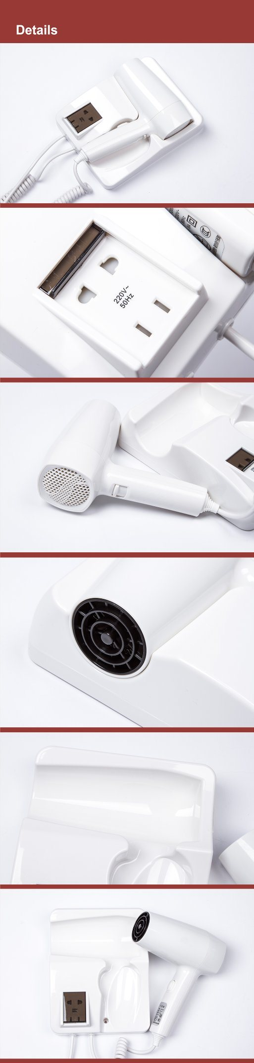 Convenient  Plastic Wall Mounted Hairdryer for Hotel