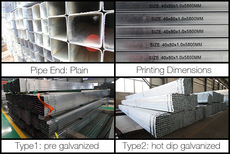 Youfa Brand Manufacturer Pre Galvanized Square Steel Pipe Hot DIP Galvanized Fence Tubing