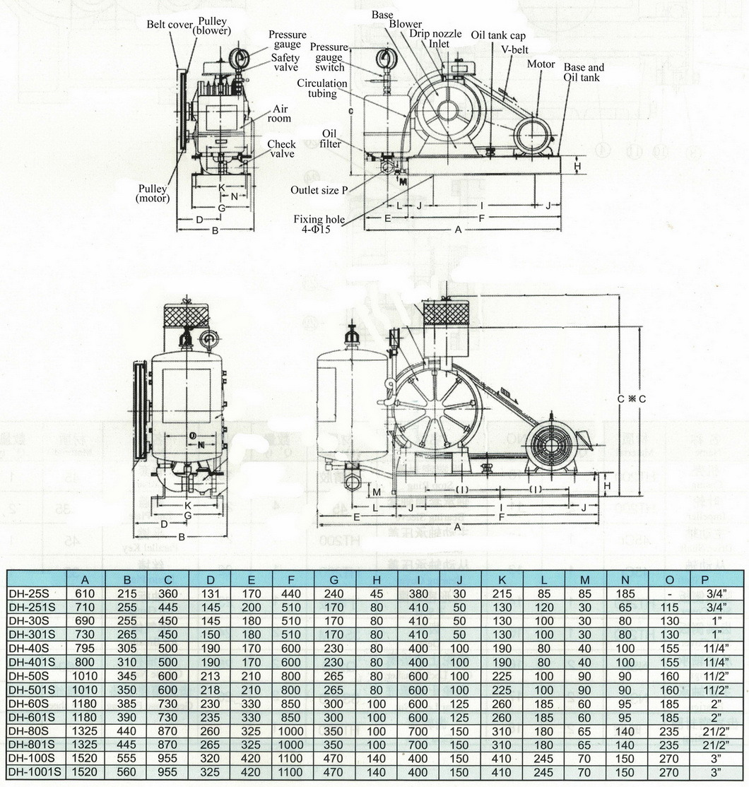 Dh Small Capacity Rotary Vane Type Blowers for Water Treatment Aeration
