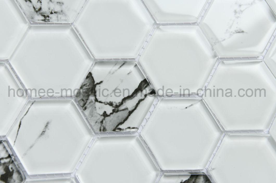 Hexagon Carrara White Gl Mosaic Tile
