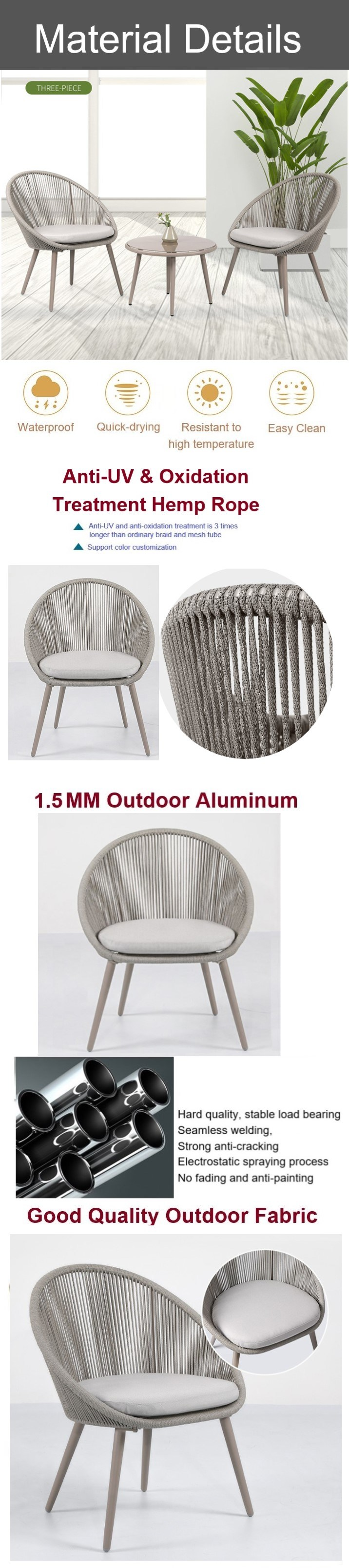 Patio Woven Rope Dining Chair Outdoor Furniture