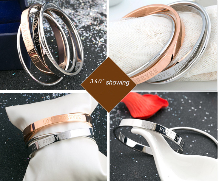 Women fashion New Rose Gold Bracelet Stainless Steel Double Bangles