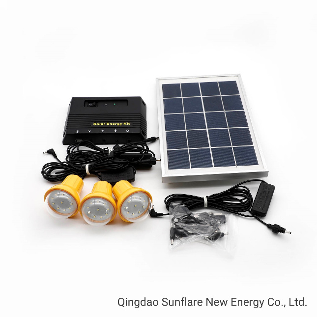 Portable LED Bulbs/USB Solar Home Energy Lighting System Kit Light with Mobile Phone Charger