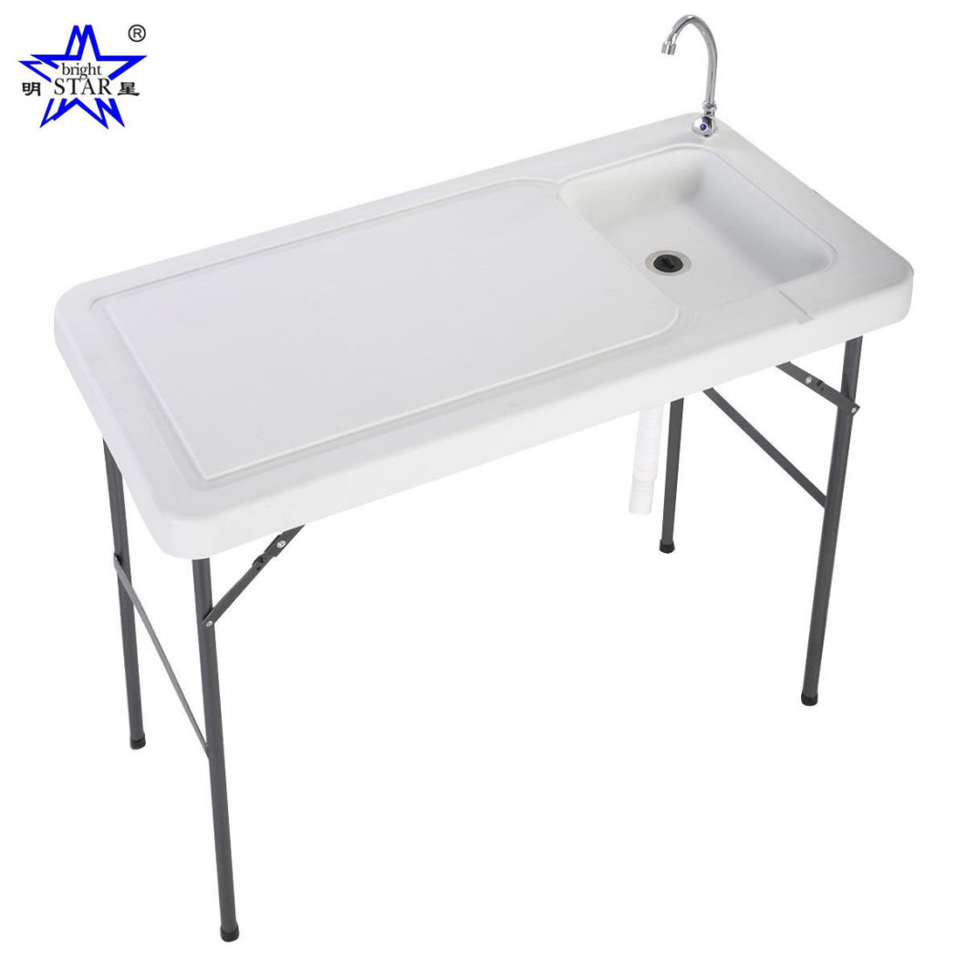 China Outdoor Fish Game Cleaning Table With Quick Connect Stainless Steel Faucet