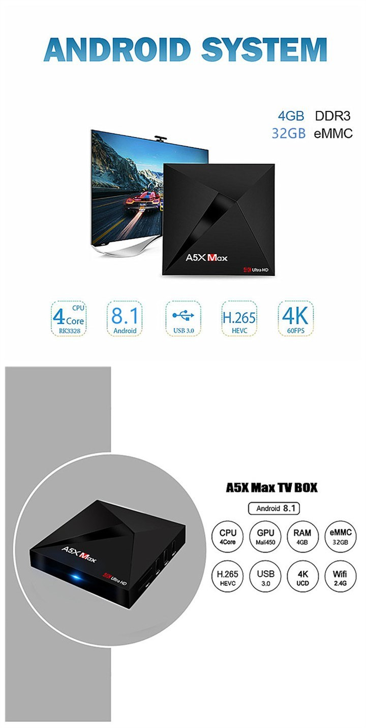 4G RAM High Quality Factory Price A5X Max Rockchip 3328 Quad Core Android 8.1 TV Box Smart Bt Ott TV Box