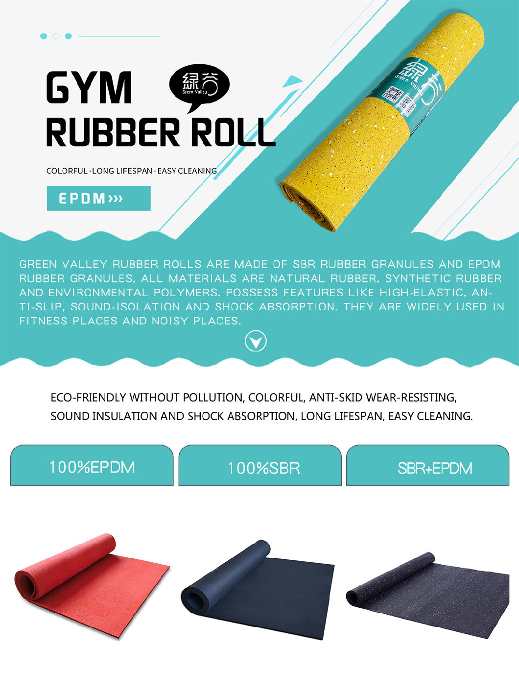 China Non Slip Waterproof Colorful Epdm Rubber Gym Flooring Rolls