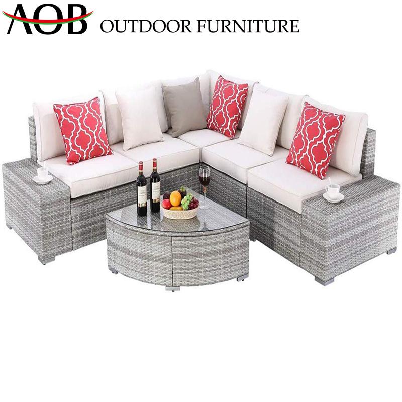 China Rattan Garden Furniture Sets Outdoor Patio Modern Hotel Lounge Corner  Sofa