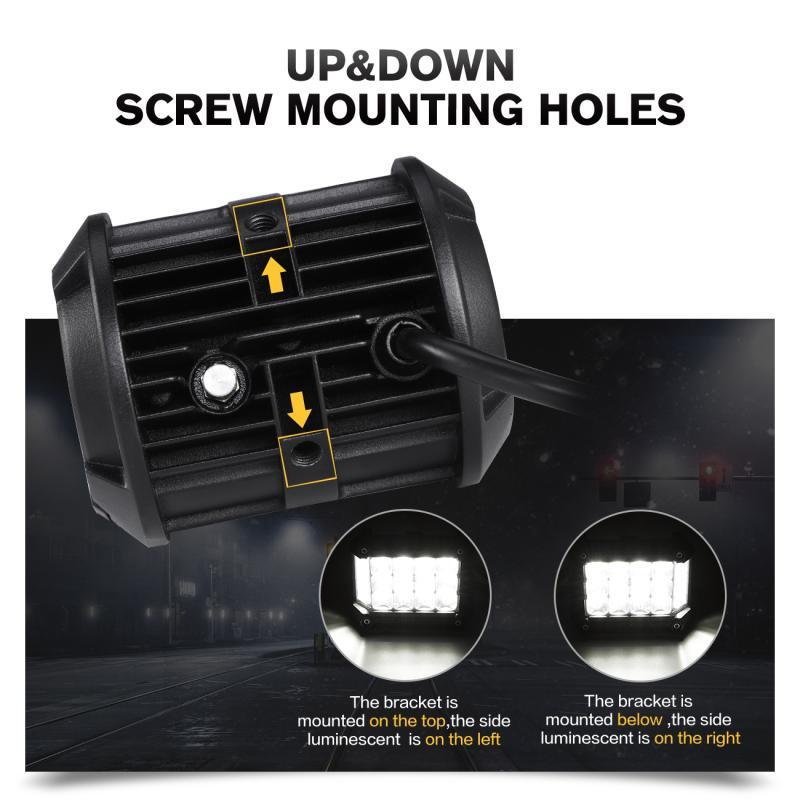 Truck Motorcycle Excavator Car 60W 4'' Left & Right Side Shooter LED Light Bar Pod Work Lamp