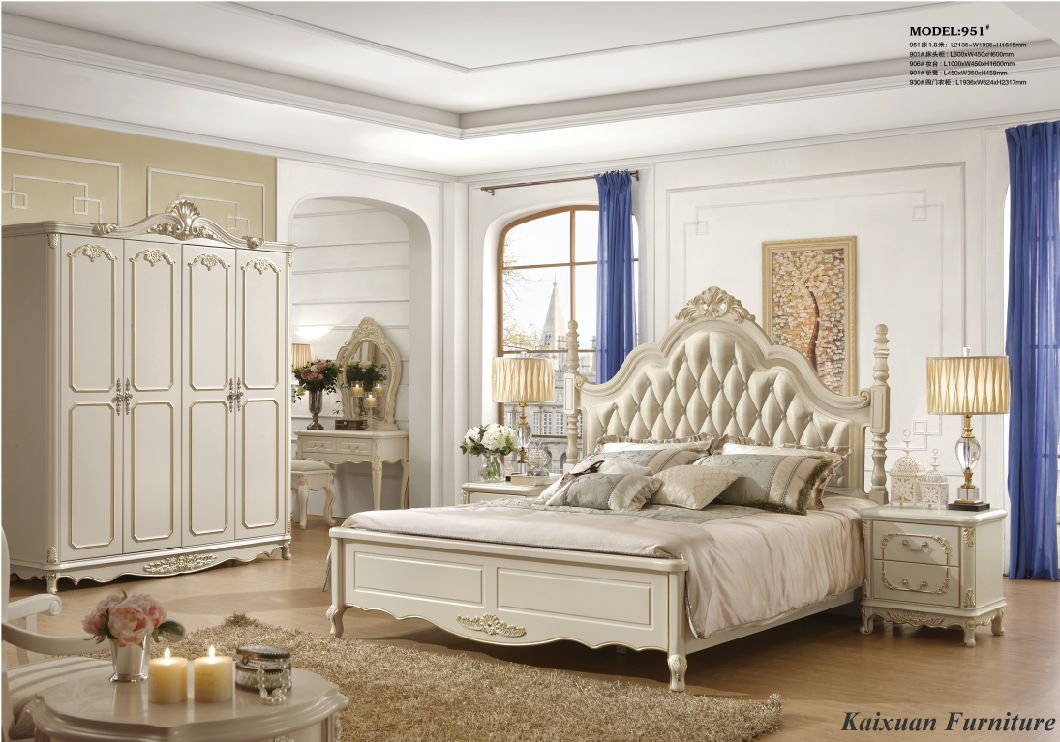 China Luxury White Bedroom Furniture King Beds For Villa Bedroom