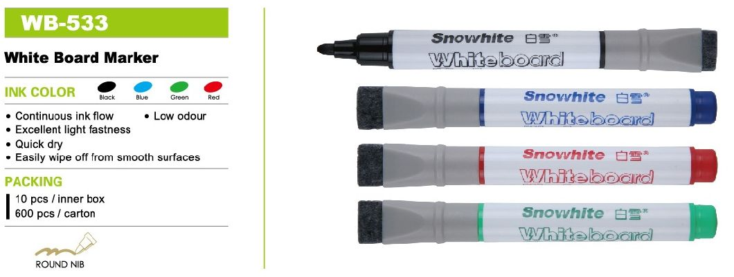 Wb533 Snowhite Whiteboard Pen with OEM/ODM Services