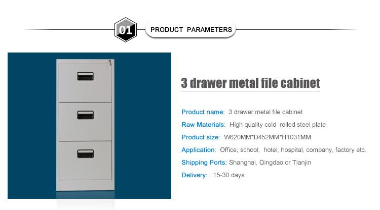 3 Drawer Metal Filing Cabinet With Lock