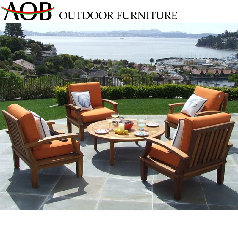 China Modern Design Aluminum Alloy 4 Seat Teak Wood Sofa Set With Round Table Outdoor Furniture