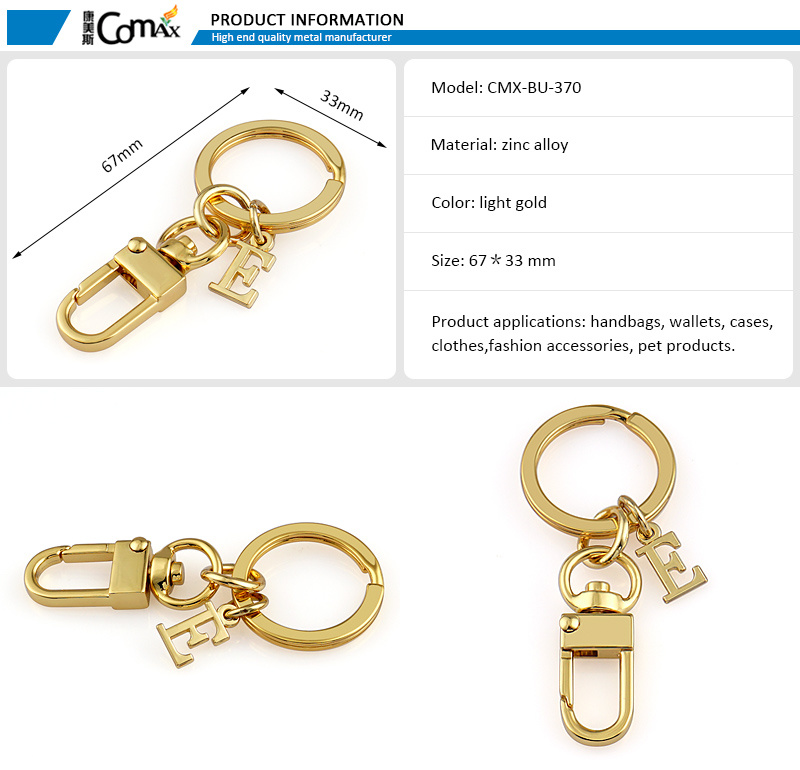 Keyring with Letter Logo Gold me<em></em>tal Fashion Snap Hook