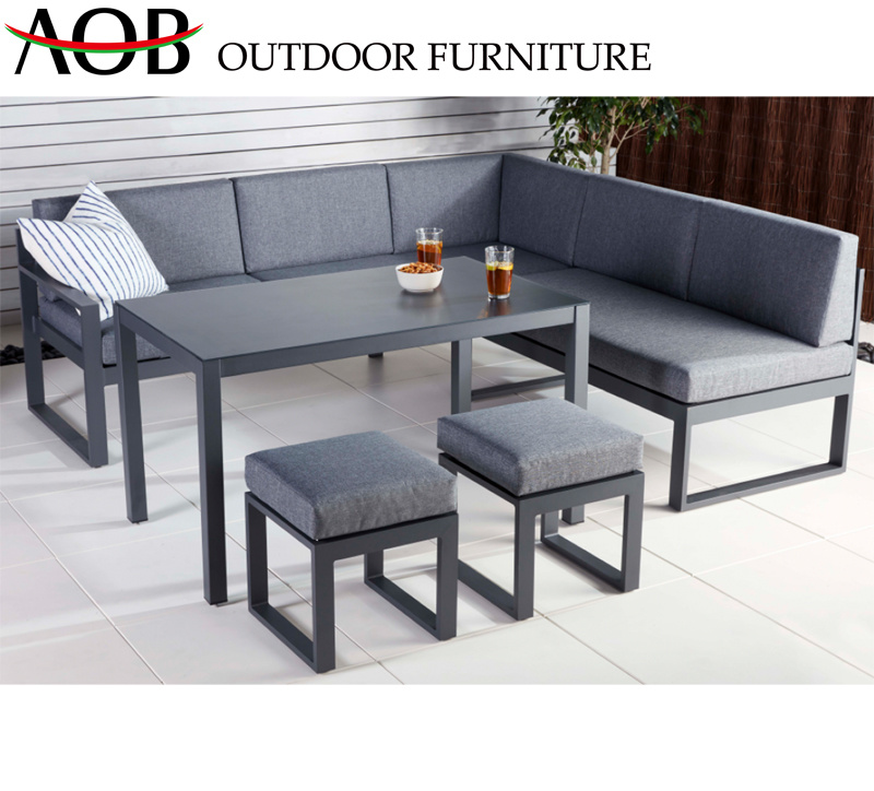 China Wholesale Modern Outdoor Garden Home Hotel Patio Aluminium Leisure  Lounge Corner Sofa Furnitur