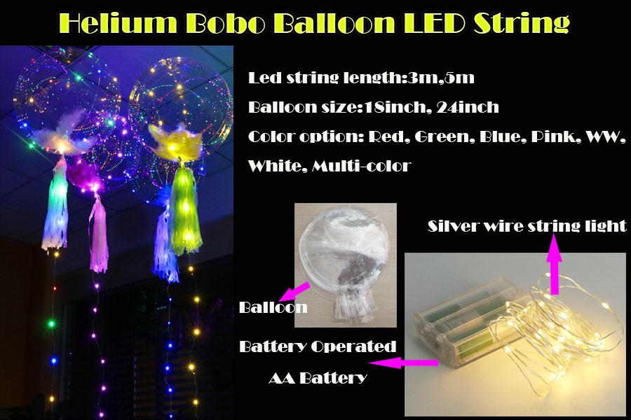 China Transparent Bobo Balloon Led String Light For