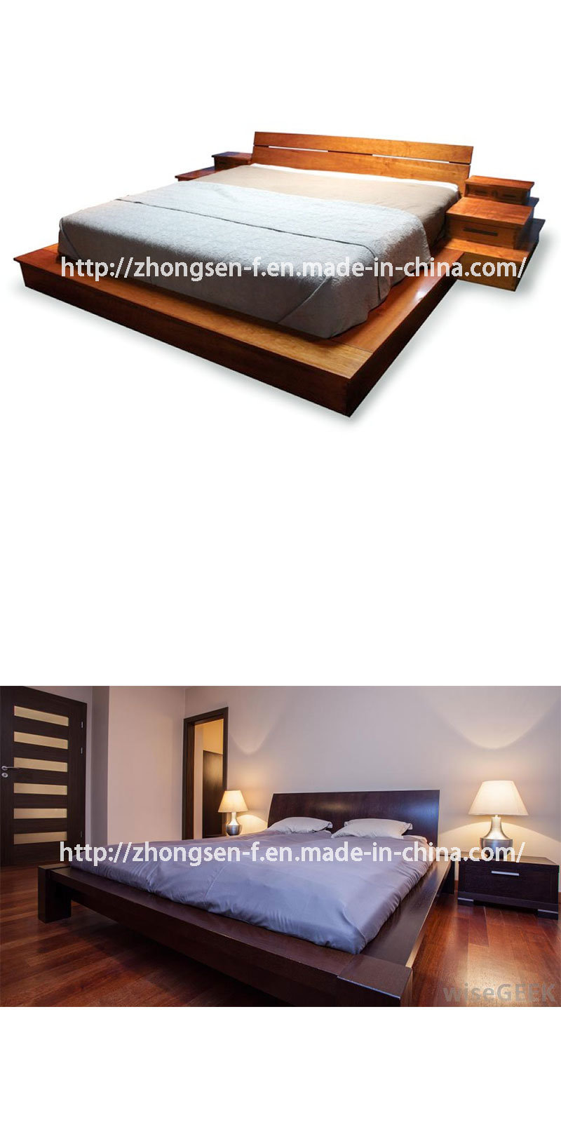 China Custom Made Modern Style Full Size Wood Platform Bed