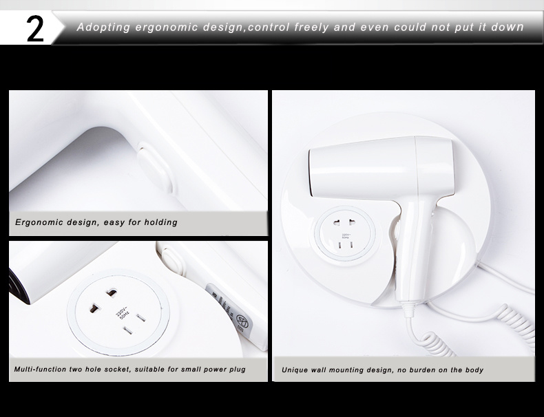 Round Plastic Hotel Wall Mounted Hair Dryer with Shaver Socket