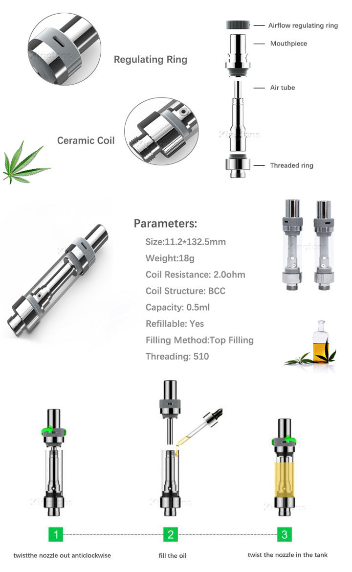 Kingtons Hottest Cartomizer Premium Taste Tank 2 Cbd Oil Atomizer