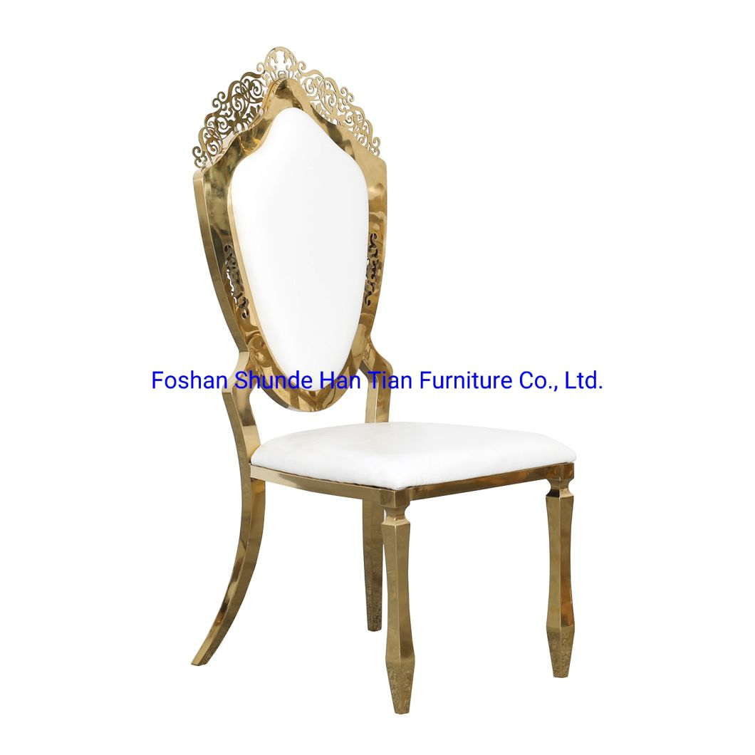 China No Folding Gold Stainless Steel Outdoor Dining Furniture Luxury Banquet Garden Chair