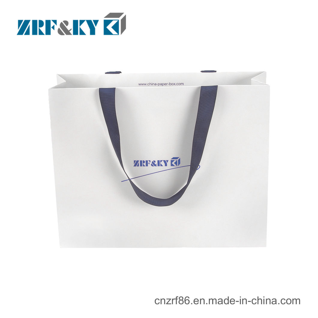Custom Printed White Cardboard Paper Shopping Carry Bag with Ribbon