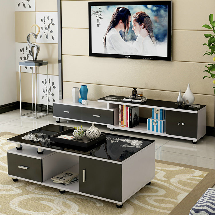 Black Color Small Cbm Kd Furniture Living Room Coffee Table (308#)