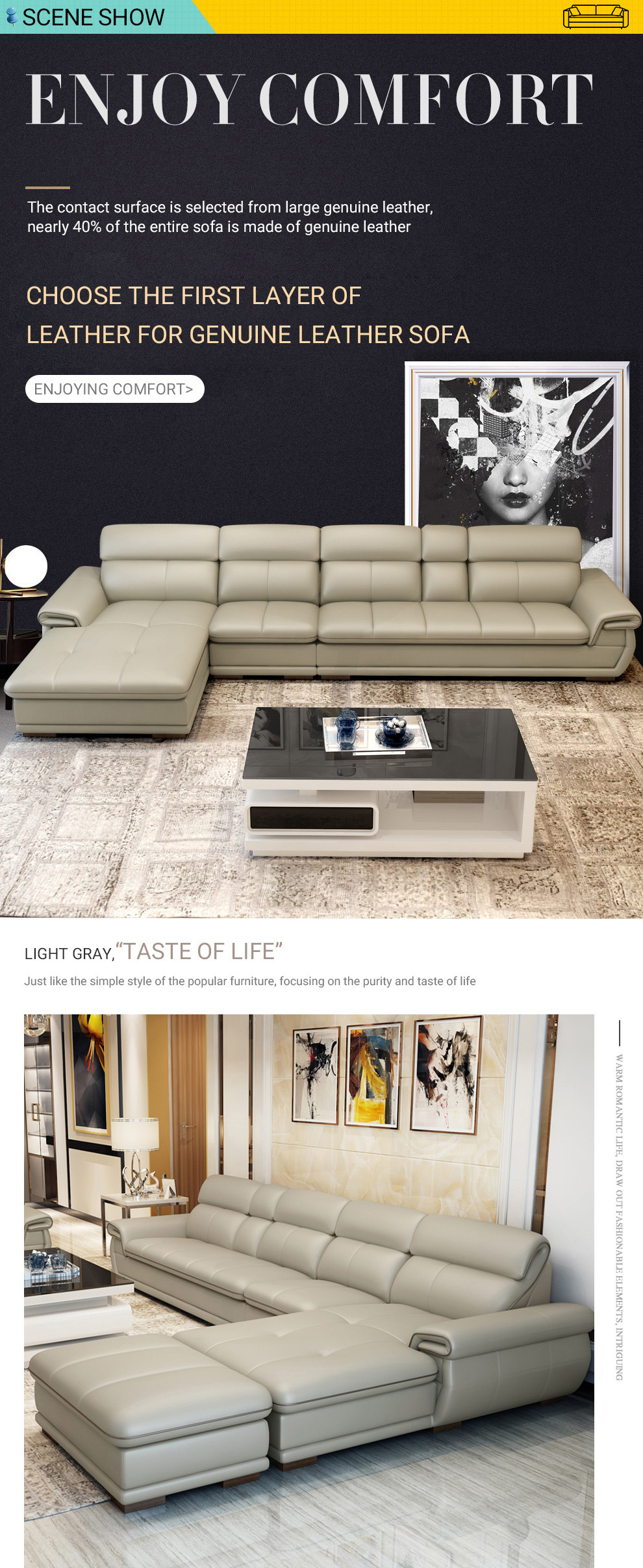 Simple Style Genuine Leather Sectional