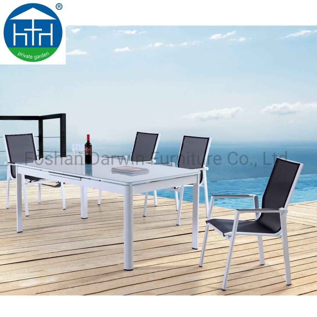 China Outdoor Furniture Extension Aluminum Garden Table Sling Chair