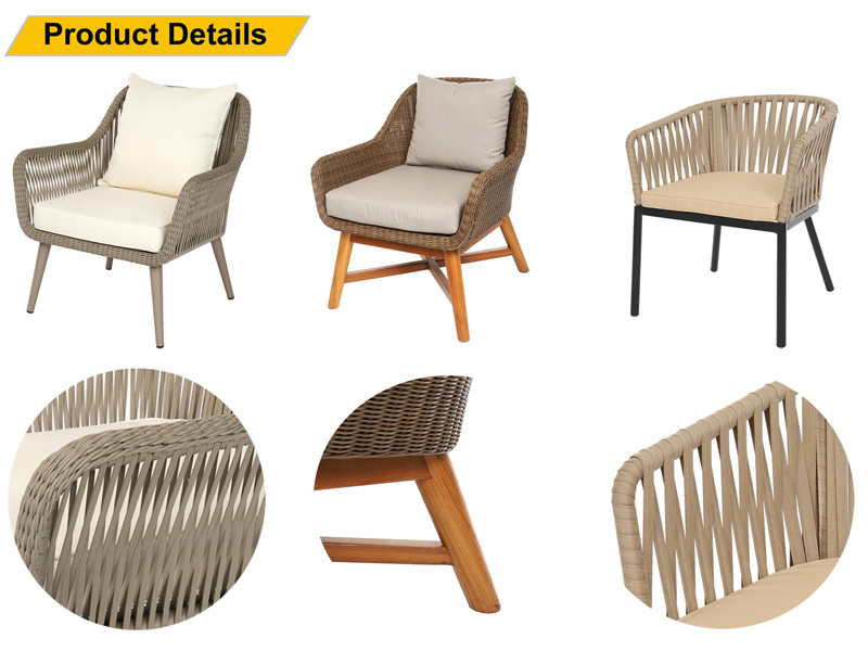 Chinese Leisure Garden Furniture Sets Restaurant Rope Woven Customized Dining Chair